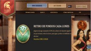Bronze Casino reembolso del 10% por retiros los lunes