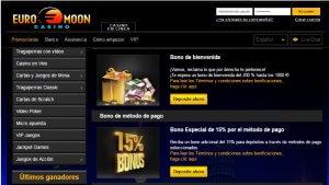 Casino Euromoon bono de 15% por método de ingreso