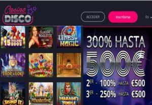 Reciba 500 euros por bono de bienvenida Casino Disco de 300%